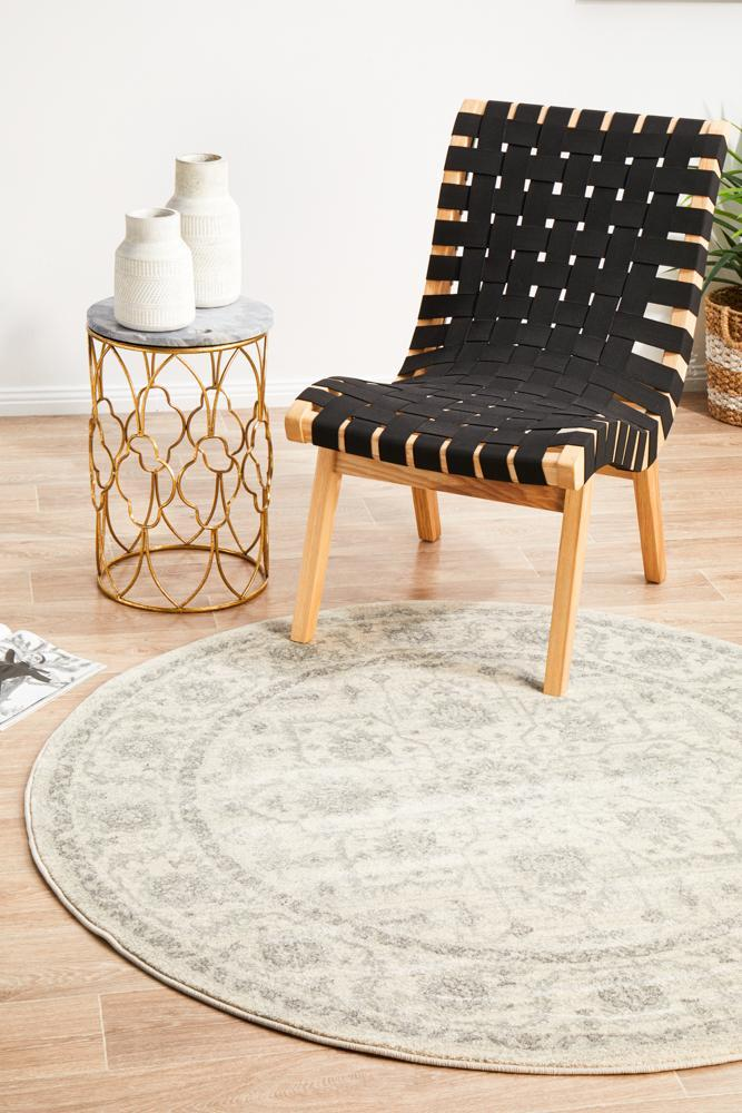 Evoke Winter White Transitional Round Rug
