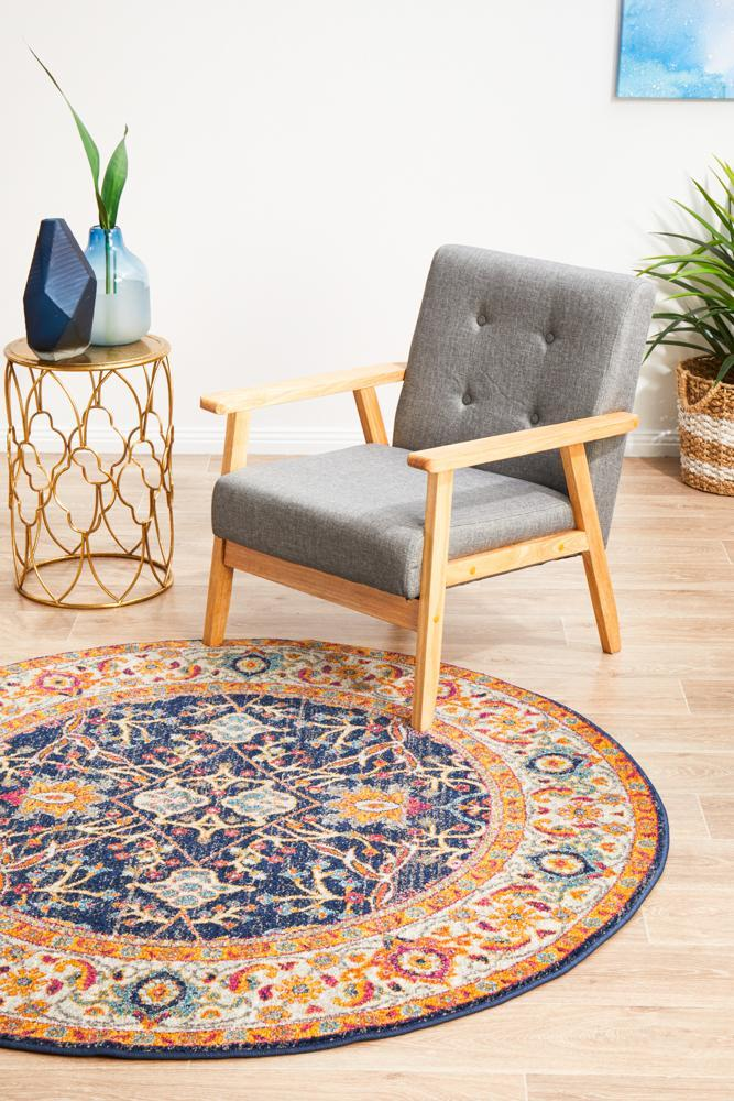 ENVI Peacock Ivory Transitional Round Rug