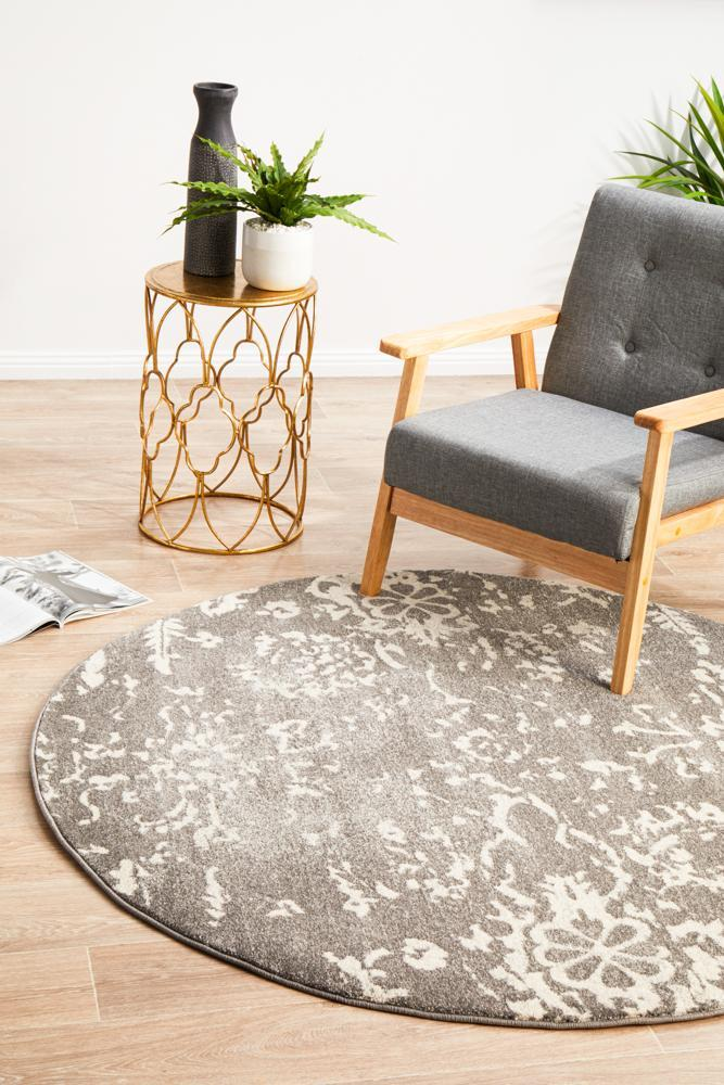 Evoke Stream Grey Transitional Round Rug