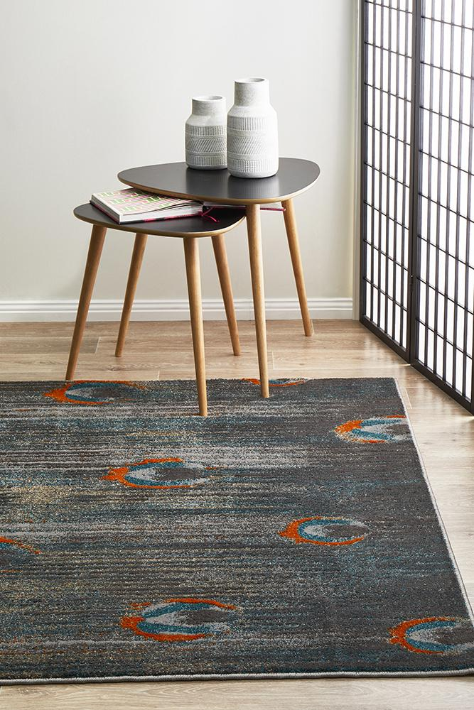 BENON Peacock Feather Austin Grey Blue Rust Rug