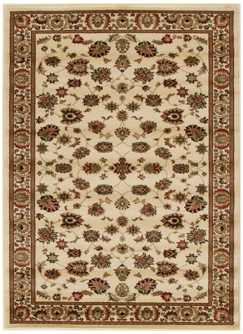ORIENTAL Collection Medallion Rug Black with Ivory Border