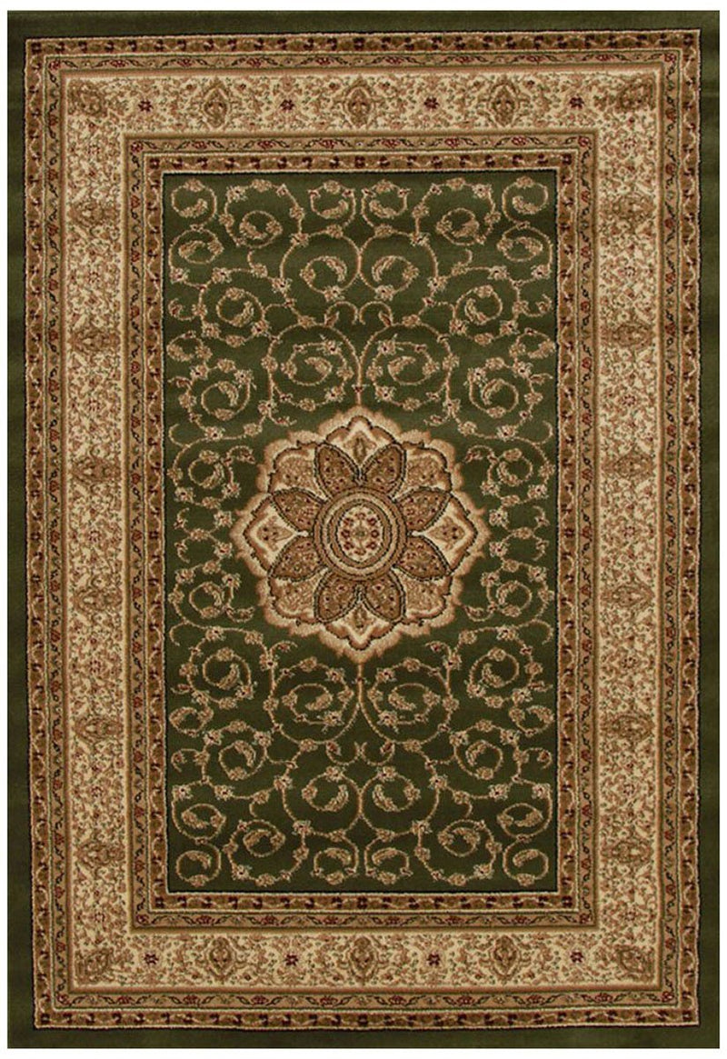 ORIENTAL Collection Medallion Rug Ivory with Red Border