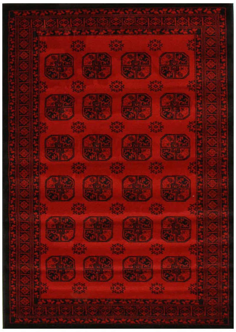 ORIENTAL Collection Traditional Panel Pattern Rug Burgundy