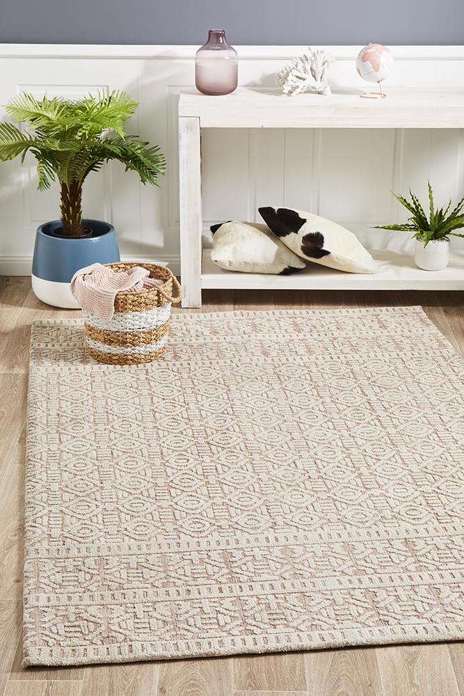 ATLANTA Gloria Peach Ivory Rug