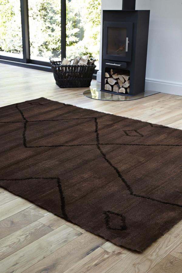 Moroccon Style  Large Diamond Design Chocolate Rug