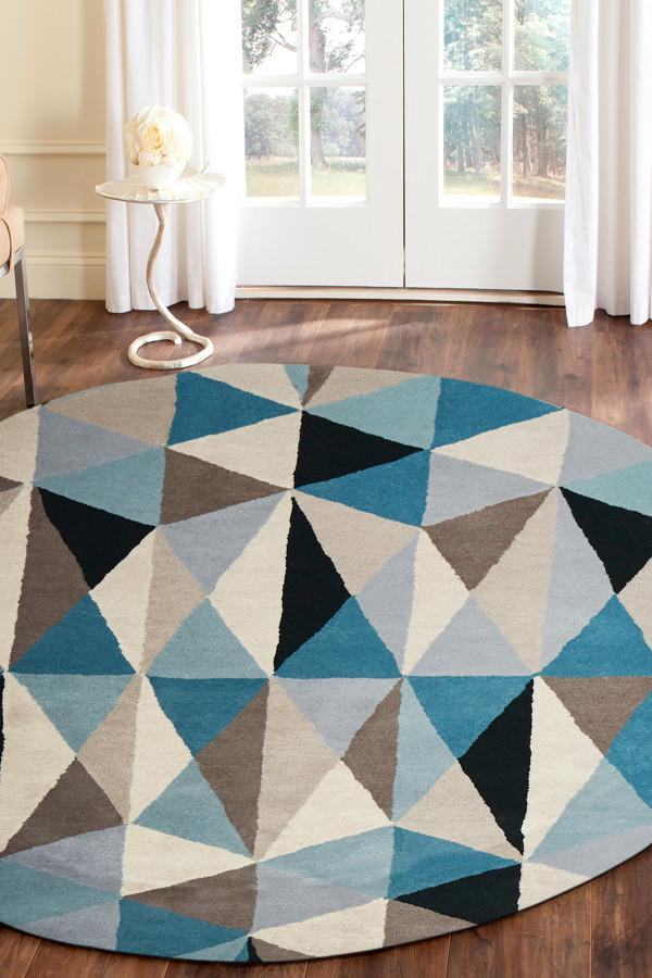 Matrix Pure Wool 901 Turquoise Round Rug