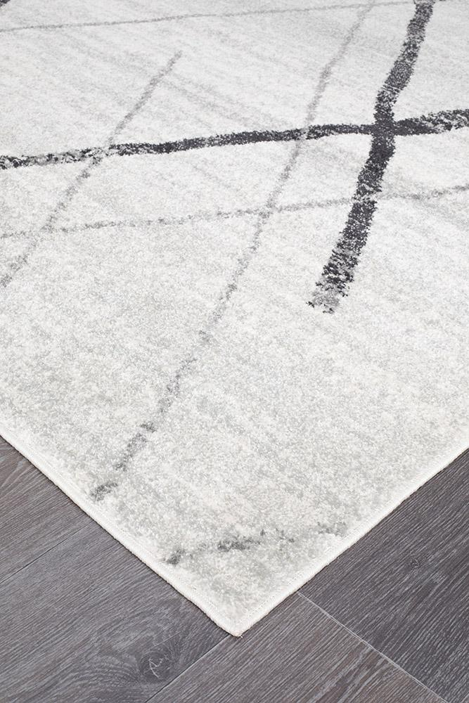 Oasis Noah White Grey Contemporary Runner Rug