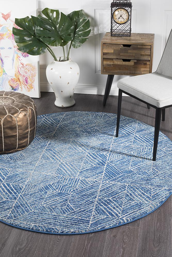 Evoke Transpose Blue Transitional Round Rug