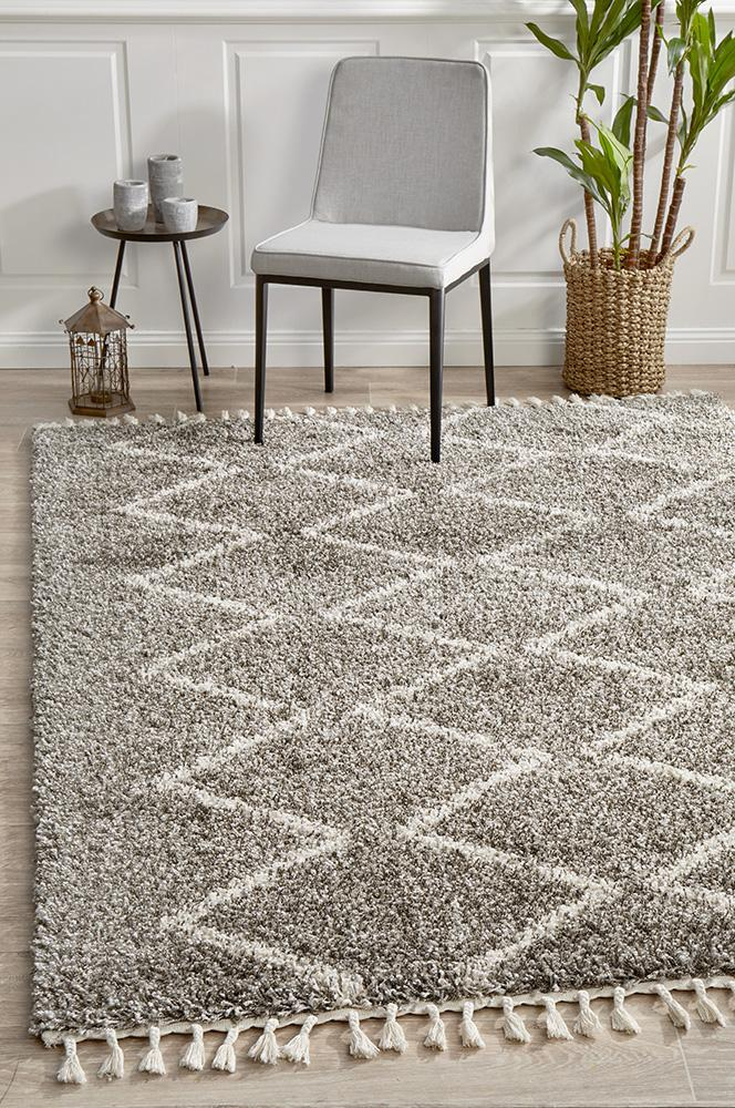 Moroccon Style  Large Diamond Design Cream Rug