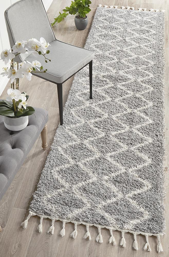 Jewel Nain Design 804 Navy Blue Grey Runner Rug