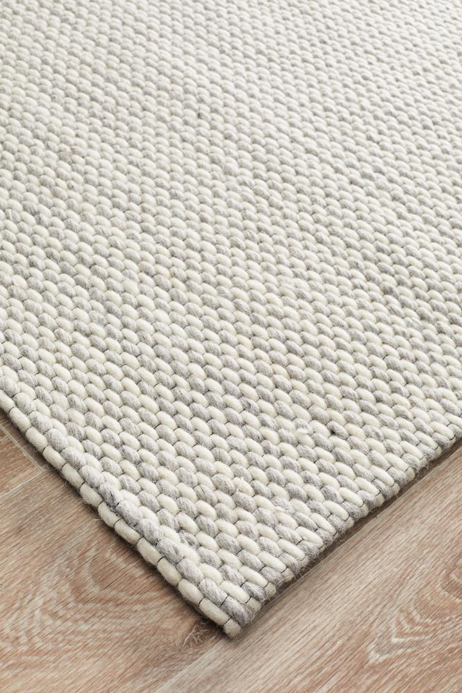 AXON Oskar Felted Wool Striped Rug Grey White