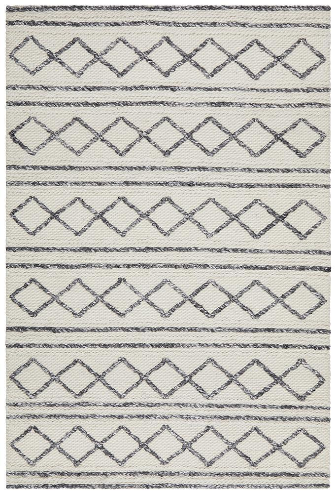 AXON Milly Textured Woollen Rug White Grey
