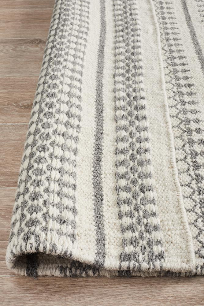 AXON Ester Delicate Lace Woollen Rug Ivory Grey