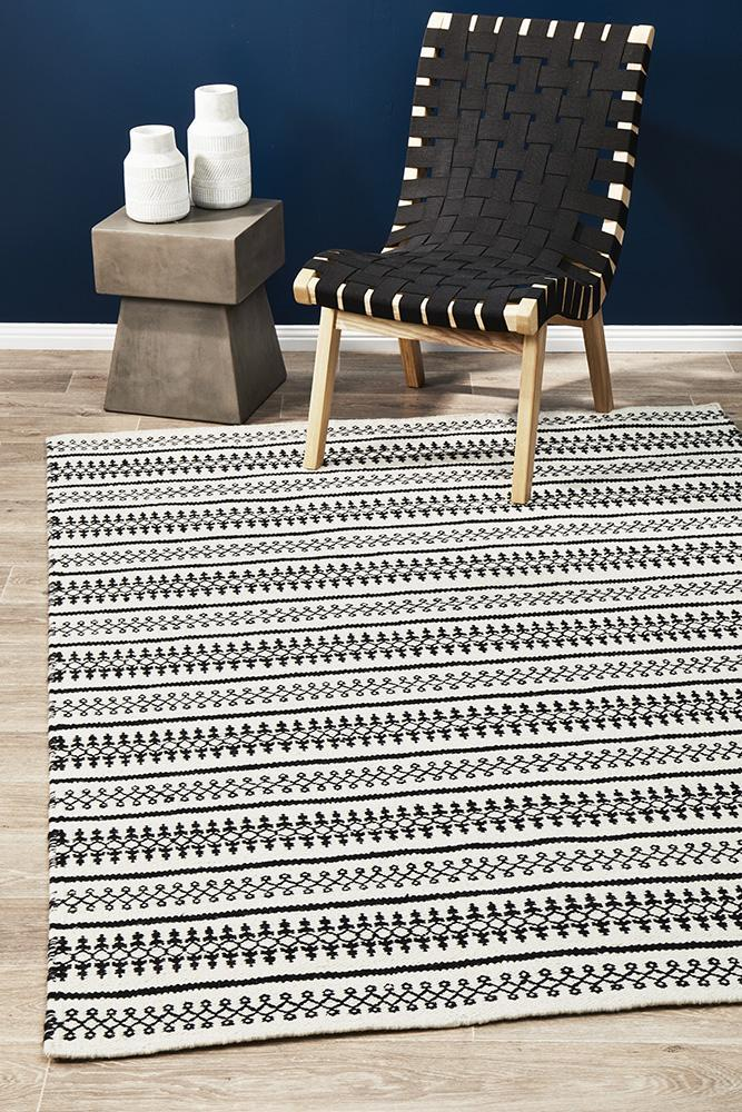 AXON Ester Delicate Lace Woollen Rug Ivory Black