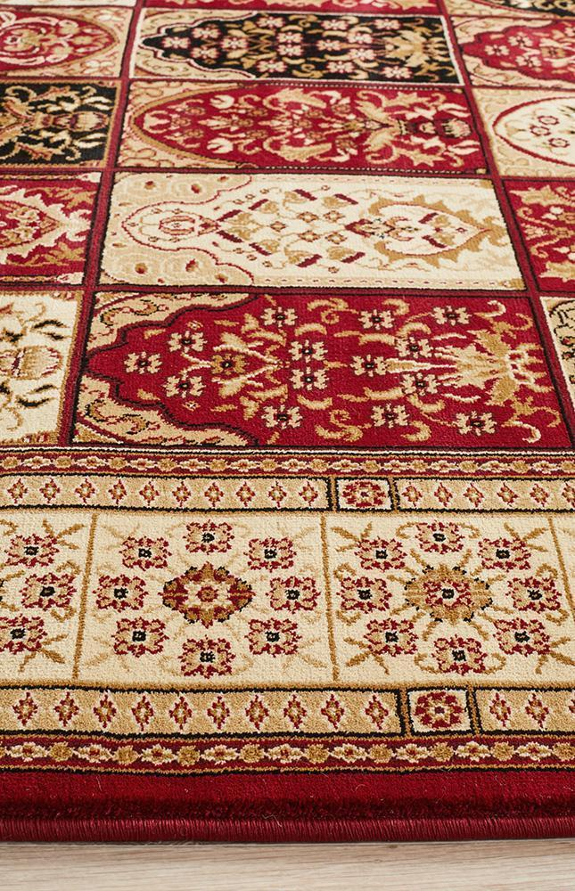 Sydney Collection Traditional Panel Pattern Rug Burgundy