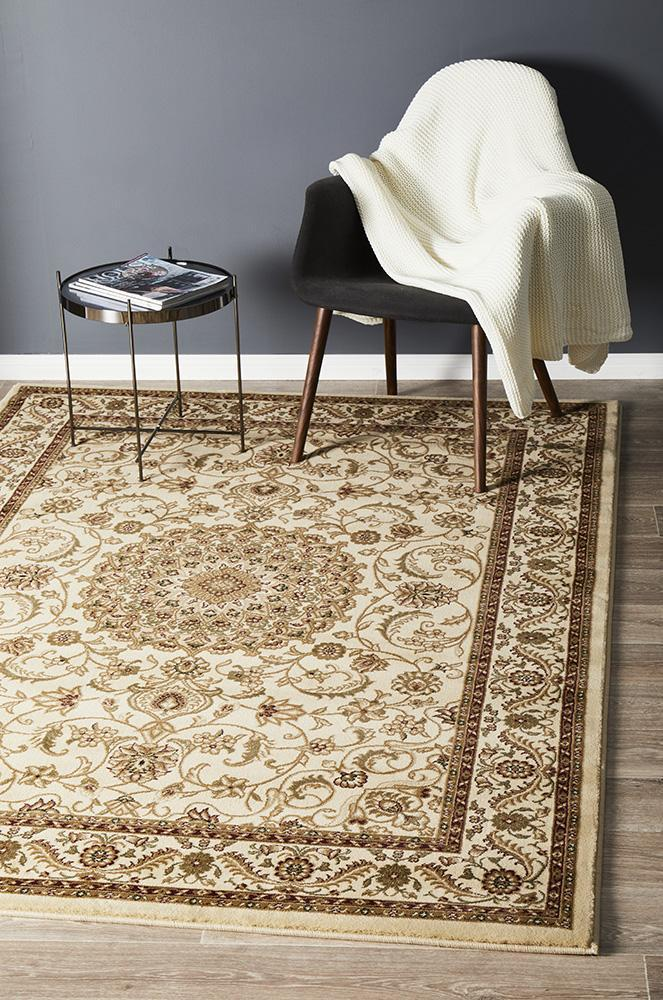 ORIENTAL Collection Medallion Rug White with Blue Border