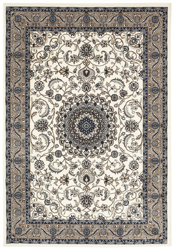 ORIENTAL Collection Classic Rug Sky Blue with Blue Border