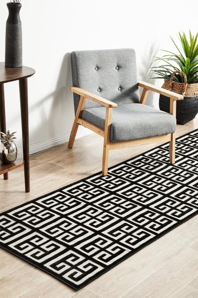 CITY Brenda Black & Gold Runner Rug