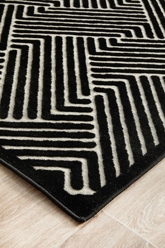CITY Cindy Black & Gold Runner Rug