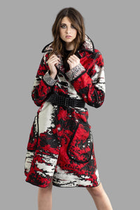 Reversable Jaquard Coat With Braided Trim & Embroidery Buttoms