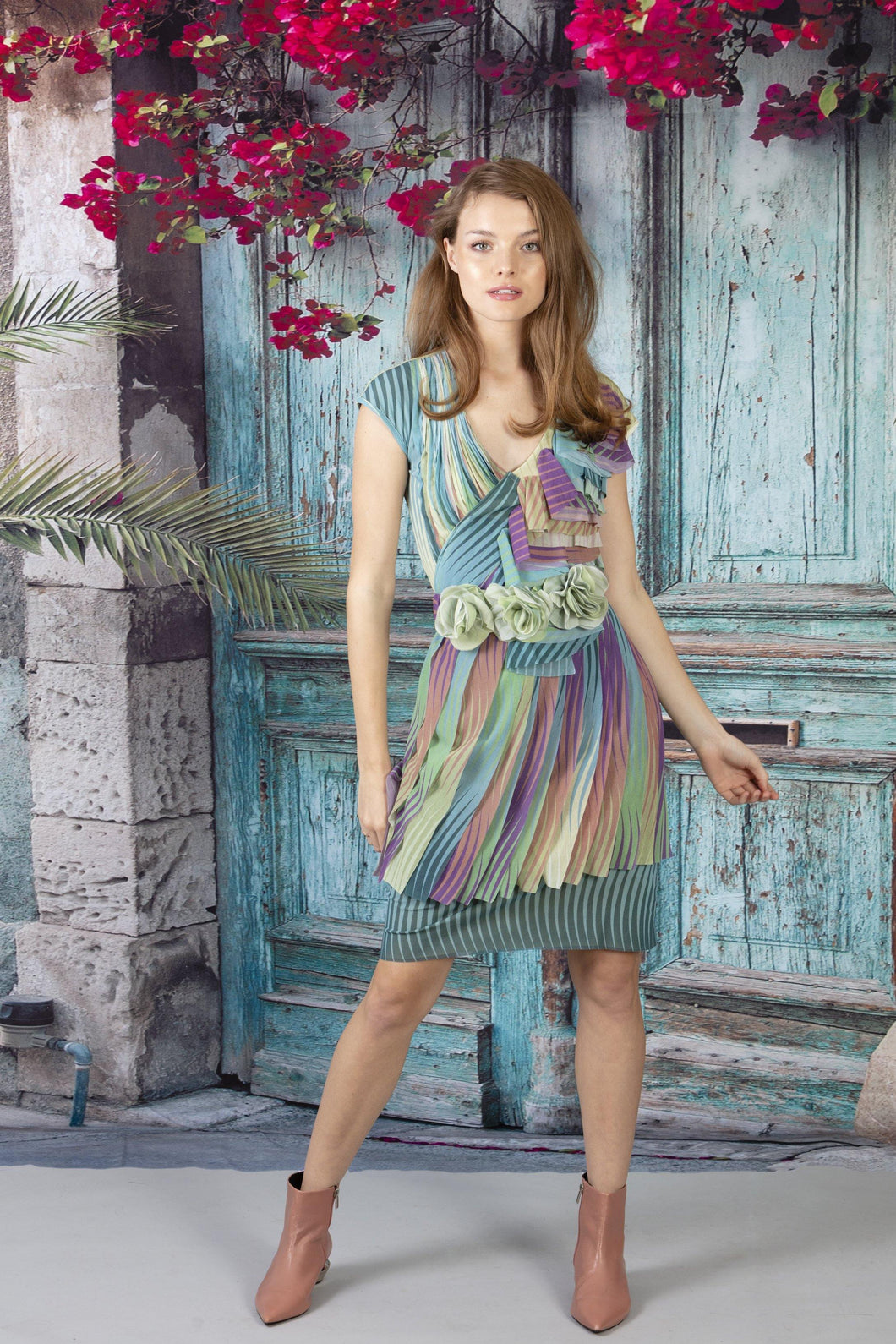 Applique Triple Layer V Neck Dress