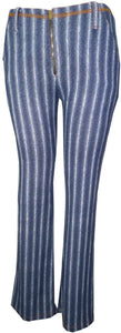 Knit Twill Boot Leg Pants With Front Zipper