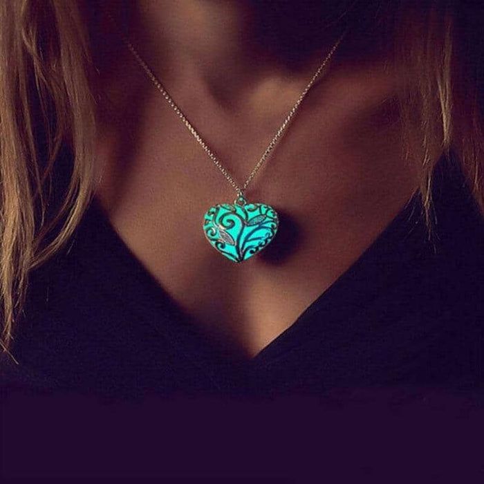 Nature's Heart Luminous Glow in the Dark Necklace
