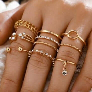 8pcs/sets Bohemian Geometric Rings Set