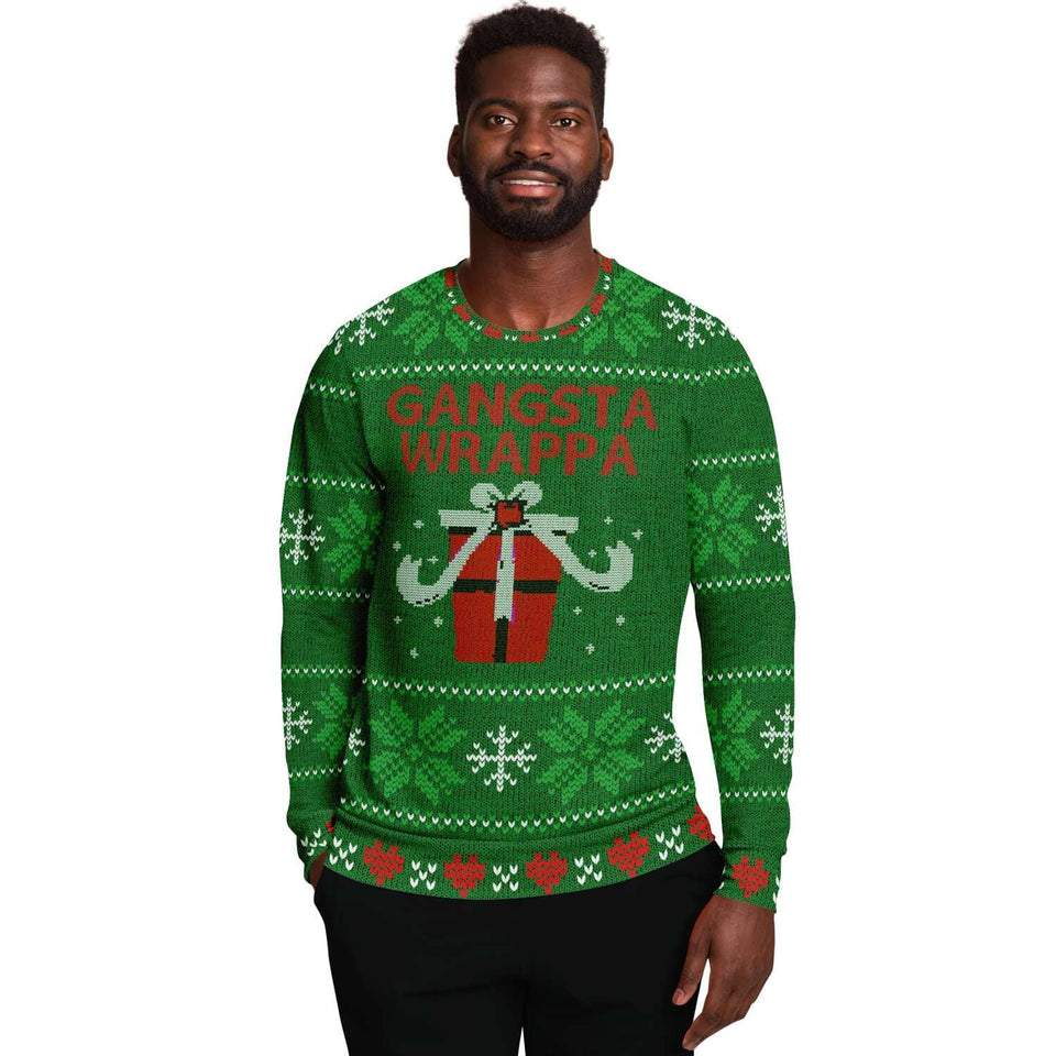 Green Gangsta Wrappa Ugly Christmas Sweater