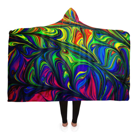 Abstract Colors Hooded Blanket