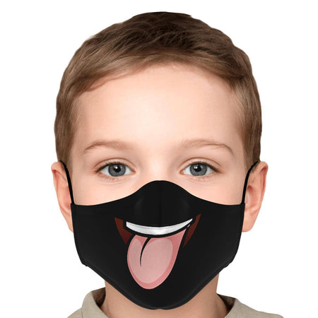 Masque Visage Souriant Tongue Out - Noir