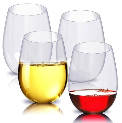 4pcs/set Shatterproof Stemless Plastic Wine Glasses Unbreakable PCTG Red Wine Glasses