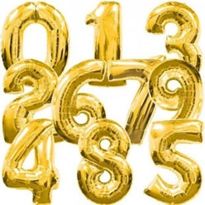 32 Inch Gold Silver Number Balloons - Party is Life