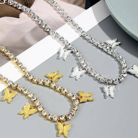 Butterflies and Crystals Necklace