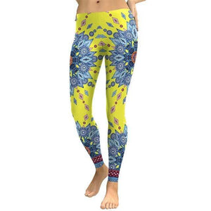 Blue Yellow Flower Leggings - Party is Life