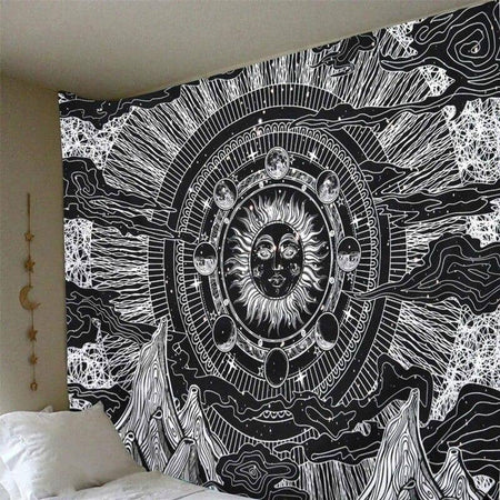 Sun & Moon Black & White Tapestry