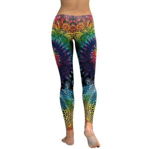 Women's Dark Leggings Mandala Flower - Party is Life