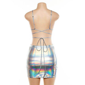 Two Piece Reflective Bandage Skirt - Party is Life
