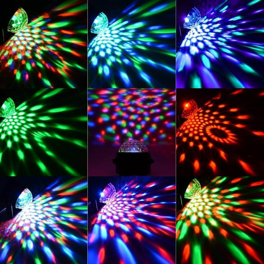 Sound Activated Rotating Disco Ball 3W RGB LED - Party is Life
