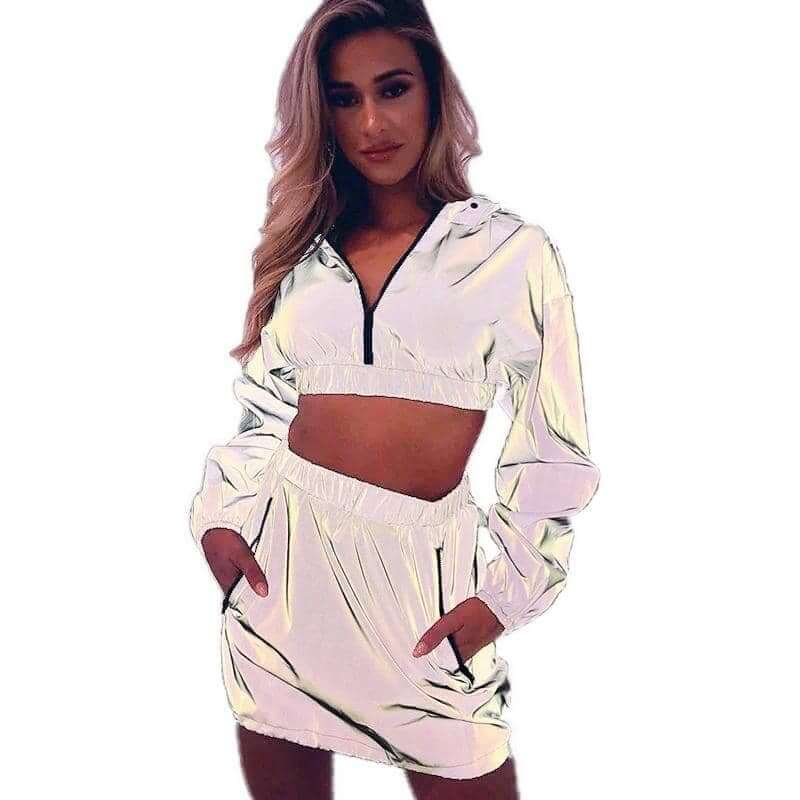 Reflective Pullover Hooded Crop Top & Skirt - Party is Life
