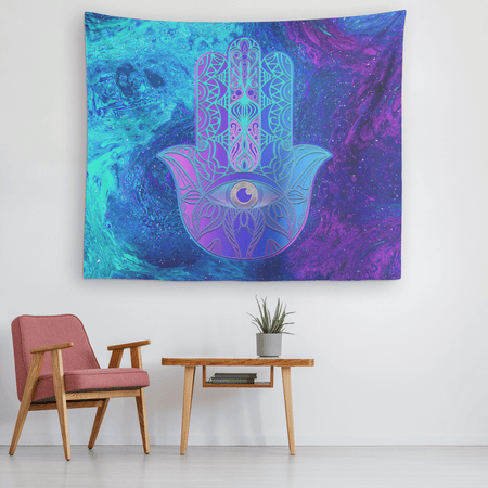 Purple Blue Hamsa Tapestry
