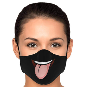 Tongue Out Smiling Face Mask - Black