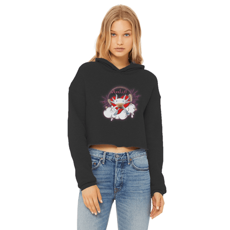 Axolitl Ladies Cropped Raw Edge Hoodie - Party is Life