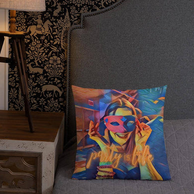 Masked Girl Throw Premium Pillow - Party is Life