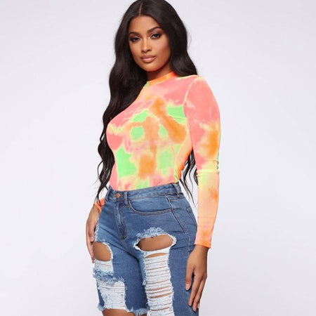 Long Sleeve Rainbow Tie Dye Bodysuit
