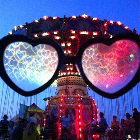 Clear Lensed Heart Diffraction Glasses