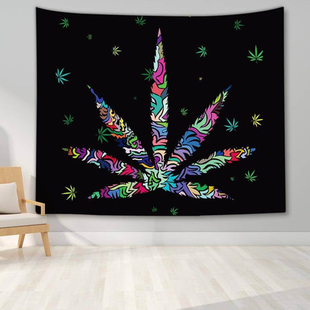 Rainbow Marijuana Leaf Tapestry