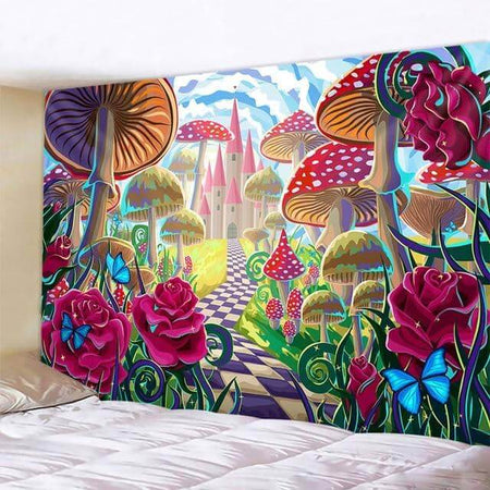Checkered Path of Mushrooms & Roses Tapestry
