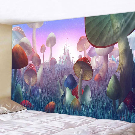 Mushrooms & Grass Tapestry