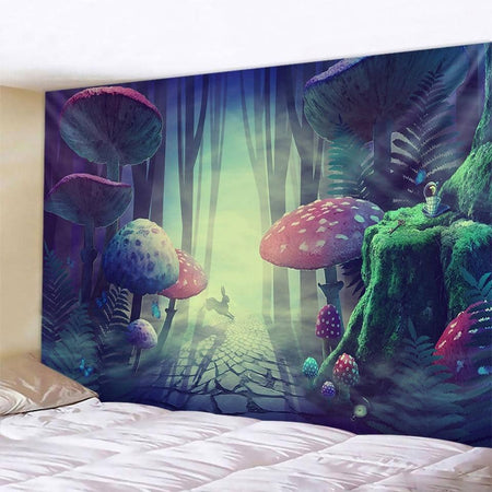 Rabbit in the Forest of Mushroom Tapestry